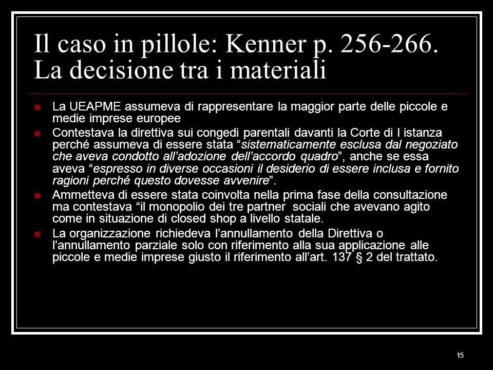 15 Il caso in pillole: Kenner p. 256-266. La decisione tra i materiali La UEAPME assumeva di rappresentare la maggior parte delle piccole e medie impr