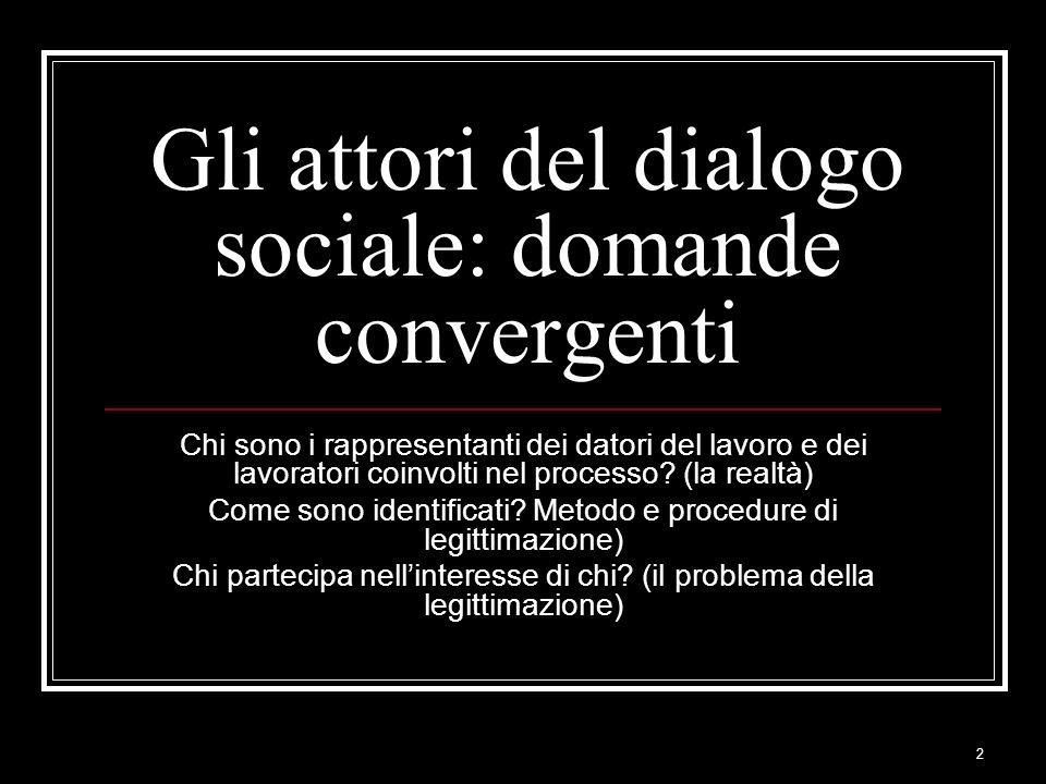 2 Gli attori del dialogo sociale: domande convergenti Chi sono i rappresentanti dei datori del lavoro e dei lavoratori coinvolti nel processo? (la rea