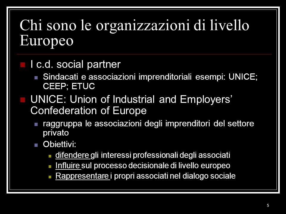 5 Chi sono le organizzazioni di livello Europeo I c.d. social partner Sindacati e associazioni imprenditoriali esempi: UNICE; CEEP; ETUC UNICE: Union