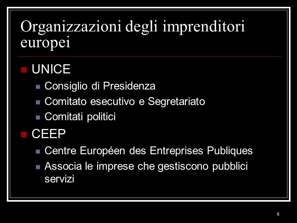 6 Organizzazioni degli imprenditori europei UNICE Consiglio di Presidenza Comitato esecutivo e Segretariato Comitati politici CEEP Centre Européen des