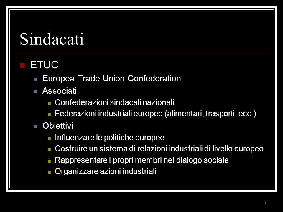 7 Sindacati ETUC Europea Trade Union Confederation Associati Confederazioni sindacali nazionali Federazioni industriali europee (alimentari, trasporti