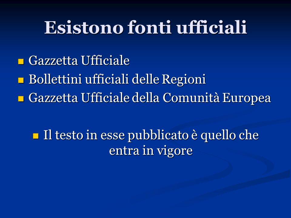 Esistono fonti ufficiali Gazzetta Ufficiale Gazzetta Ufficiale Bollettini ufficiali delle Regioni Bollettini ufficiali delle Regioni Gazzetta Ufficial