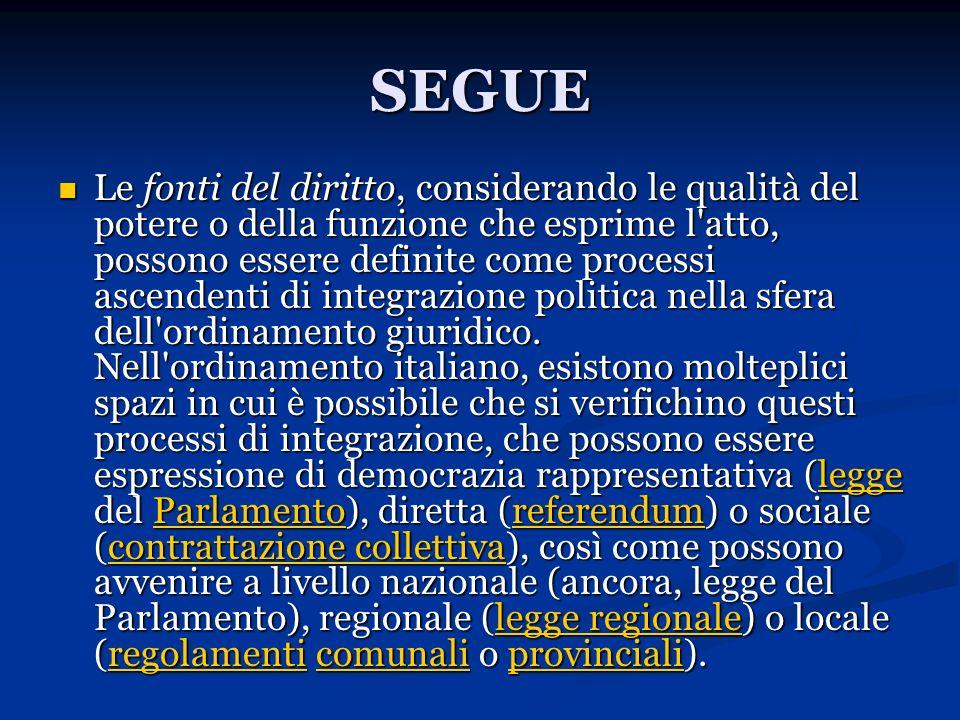 SEGUE Le fonti del diritto, considerando le qualità del potere o della funzione che esprime l'atto, possono essere definite come processi ascendenti d