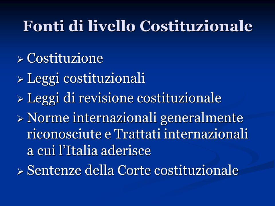 Fonti di livello Costituzionale Costituzione Costituzione Leggi costituzionali Leggi costituzionali Leggi di revisione costituzionale Leggi di revisio