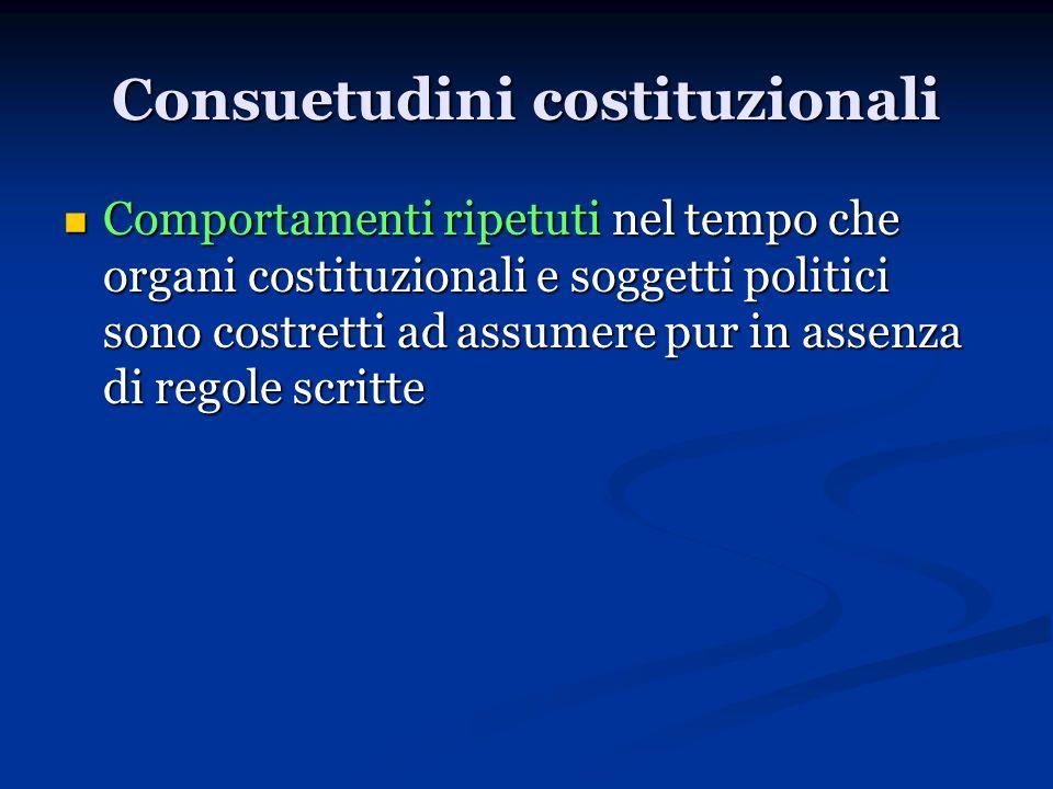 Consuetudini costituzionali Comportamenti ripetuti nel tempo che organi costituzionali e soggetti politici sono costretti ad assumere pur in assenza d