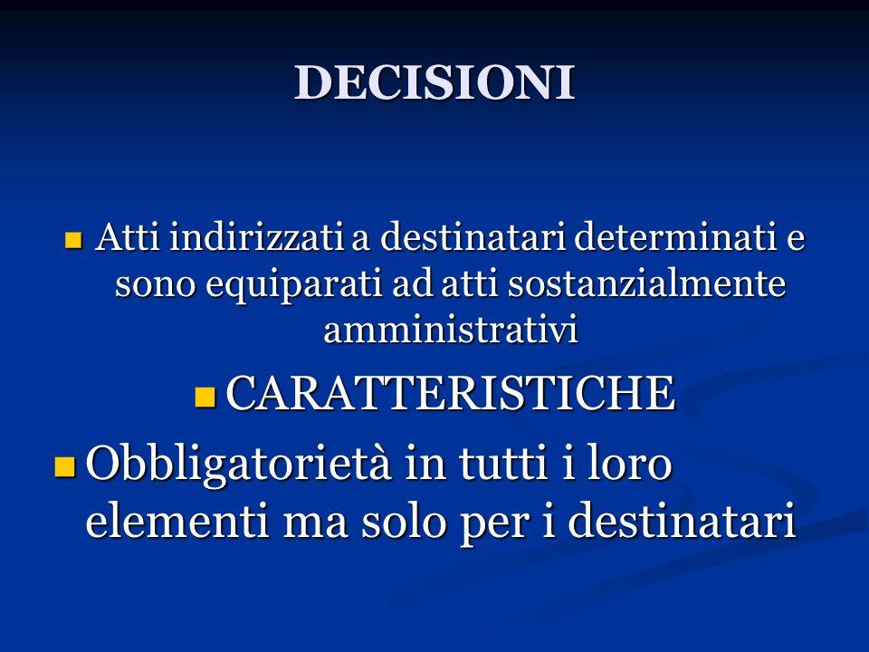 DECISIONI Atti indirizzati a destinatari determinati e sono equiparati ad atti sostanzialmente amministrativi Atti indirizzati a destinatari determina