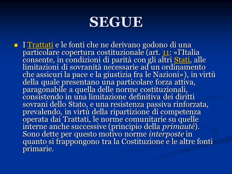 SEGUE I Trattati e le fonti che ne derivano godono di una particolare copertura costituzionale (art. 11: «l'Italia consente, in condizioni di parità c