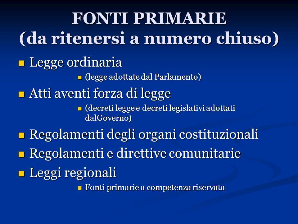 FONTI PRIMARIE (da ritenersi a numero chiuso) Legge ordinaria Legge ordinaria (legge adottate dal Parlamento) (legge adottate dal Parlamento) Atti ave