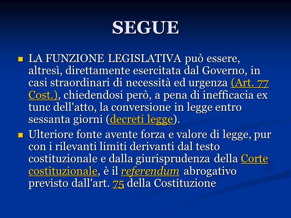 SEGUE LA FUNZIONE LEGISLATIVA può essere, altresì, direttamente esercitata dal Governo, in casi straordinari di necessità ed urgenza (Art. 77 Cost.),