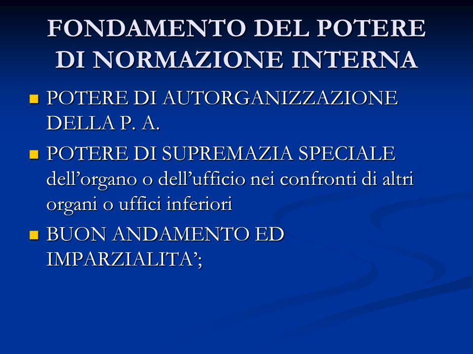 FONDAMENTO DEL POTERE DI NORMAZIONE INTERNA POTERE DI AUTORGANIZZAZIONE DELLA P. A. POTERE DI AUTORGANIZZAZIONE DELLA P. A. POTERE DI SUPREMAZIA SPECI