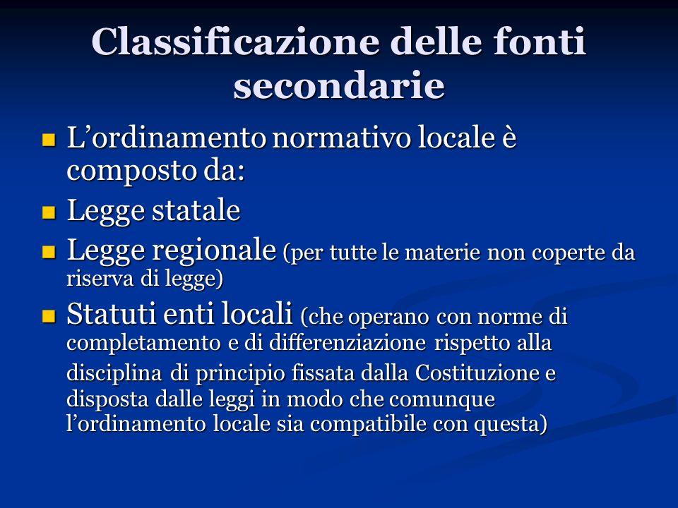 Classificazione delle fonti secondarie Lordinamento normativo locale è composto da: Lordinamento normativo locale è composto da: Legge statale Legge s