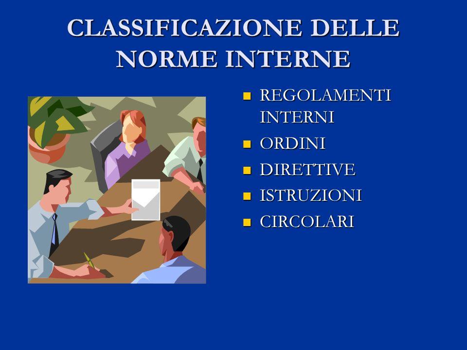 CLASSIFICAZIONE DELLE NORME INTERNE REGOLAMENTI INTERNI ORDINI DIRETTIVE ISTRUZIONI CIRCOLARI