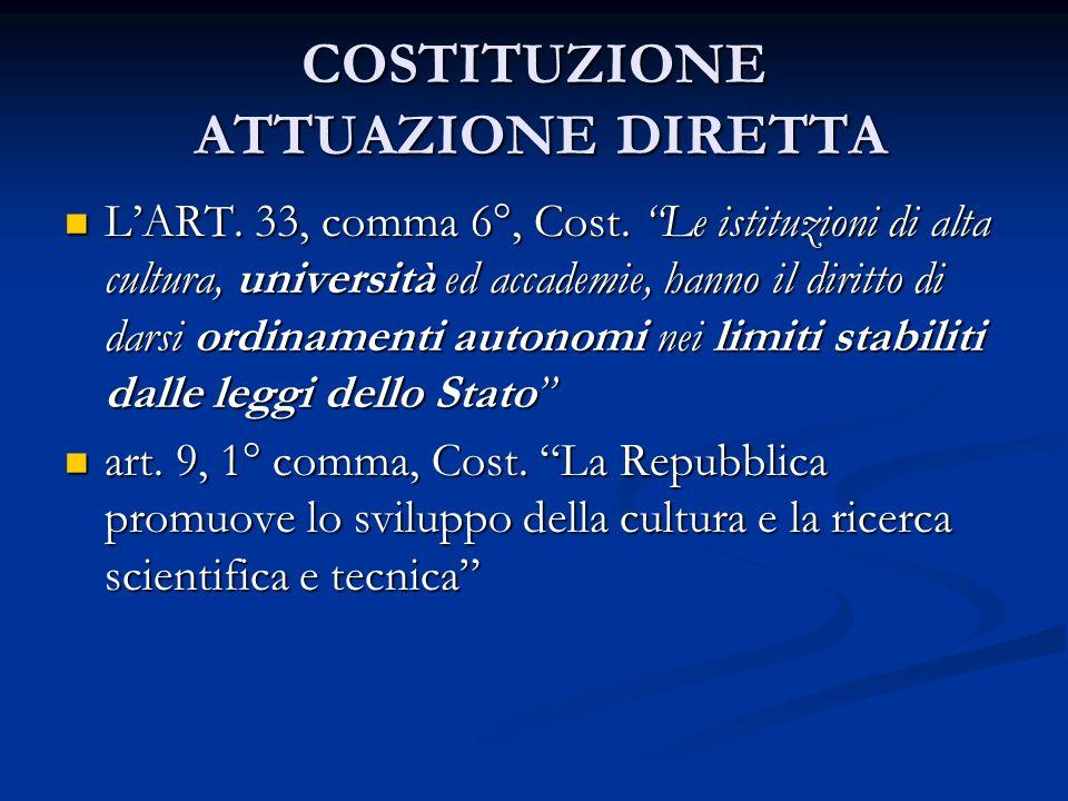 COSTITUZIONE ATTUAZIONE DIRETTA LART. 33, comma 6°, Cost. Le istituzioni di alta cultura, università ed accademie, hanno il diritto di darsi ordinamen