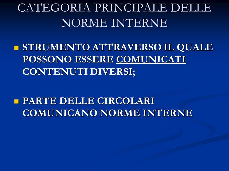 CATEGORIA PRINCIPALE DELLE NORME INTERNE STRUMENTO ATTRAVERSO IL QUALE POSSONO ESSERE COMUNICATI CONTENUTI DIVERSI; STRUMENTO ATTRAVERSO IL QUALE POSS