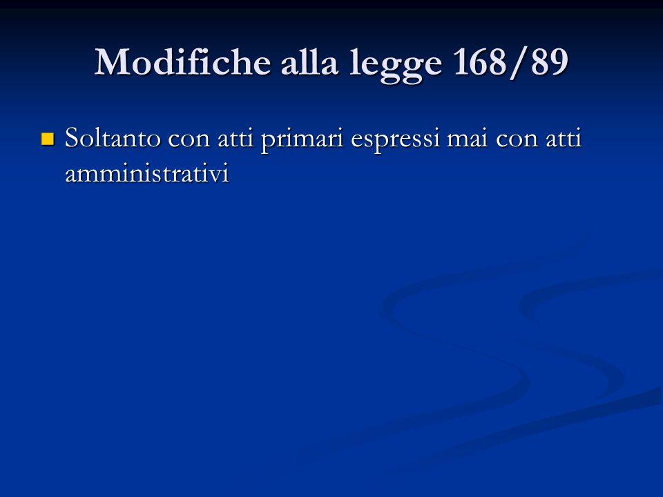 Modifiche alla legge 168/89 Soltanto con atti primari espressi mai con atti amministrativi Soltanto con atti primari espressi mai con atti amministrat