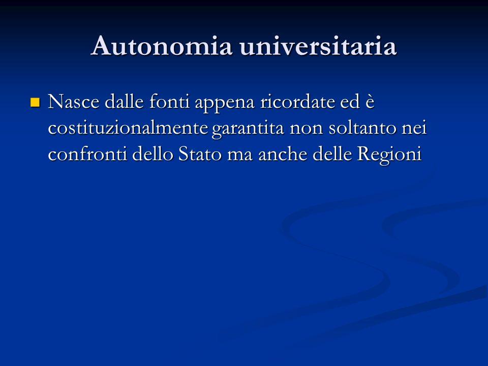 Autonomia universitaria Nasce dalle fonti appena ricordate ed è costituzionalmente garantita non soltanto nei confronti dello Stato ma anche delle Reg