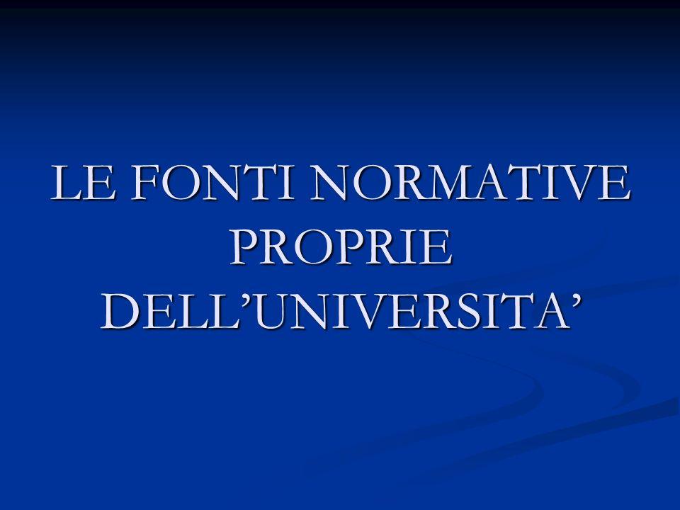 LE FONTI NORMATIVE PROPRIE DELLUNIVERSITA