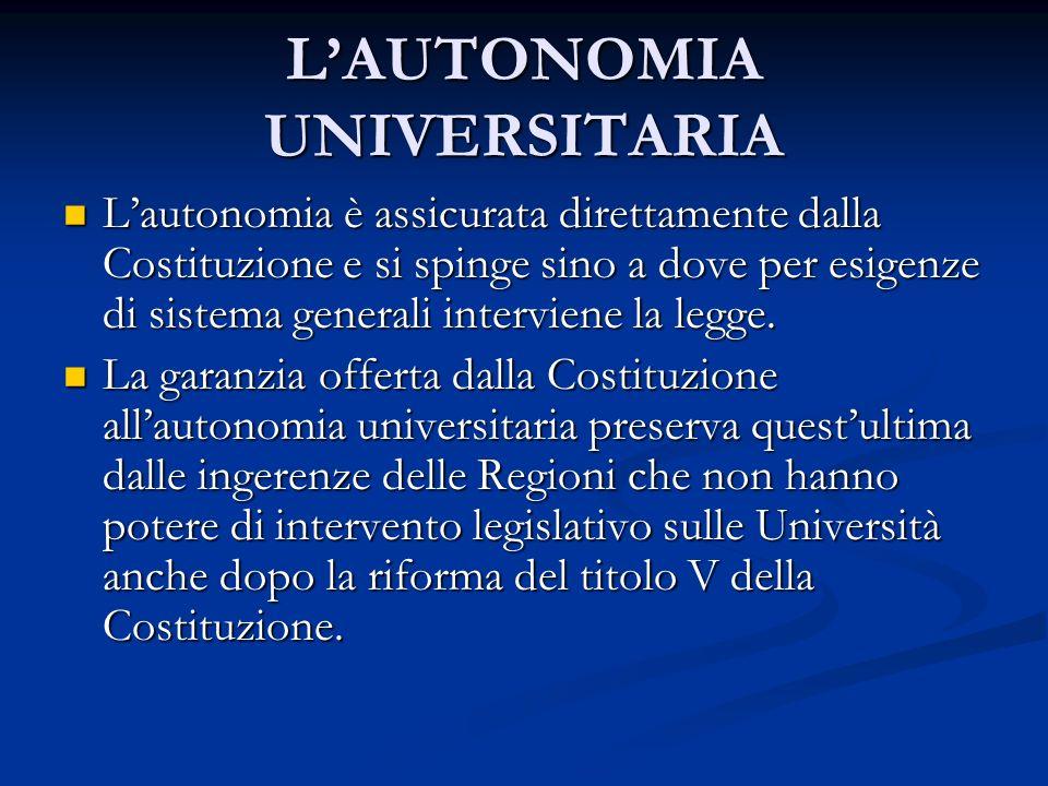 LAUTONOMIA UNIVERSITARIA Lautonomia è assicurata direttamente dalla Costituzione e si spinge sino a dove per esigenze di sistema generali interviene l