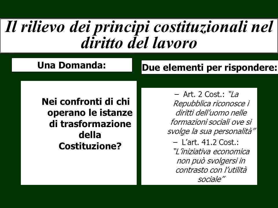 Il rilievo dei principi costituzionali nel diritto del lavoro Nei confronti di chi operano le istanze di trasformazione della Costituzione? –Art. 2 Co