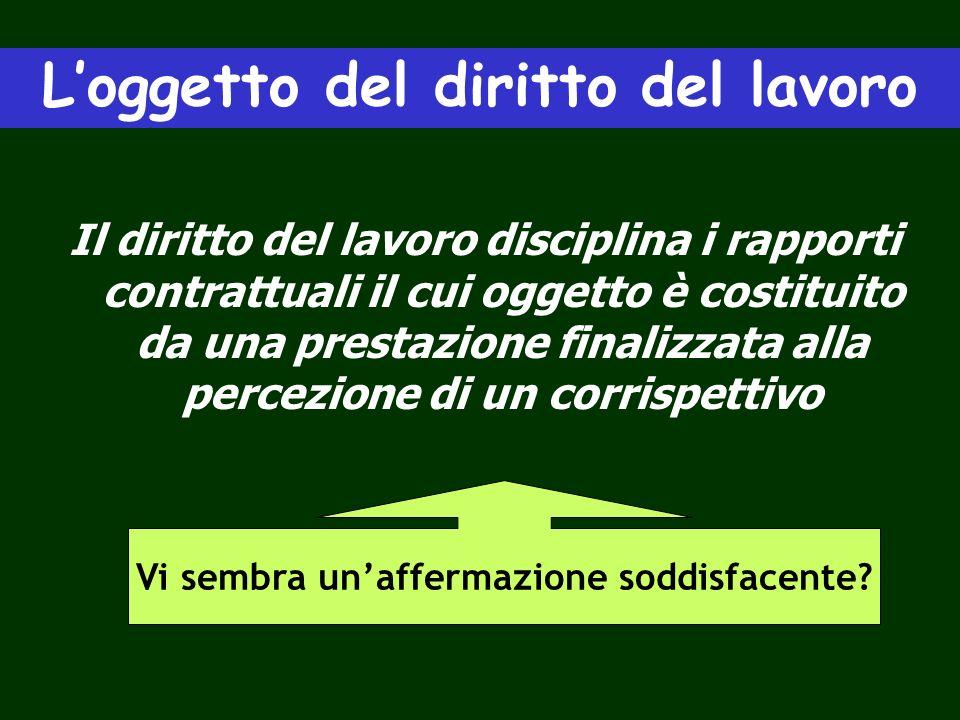 Loggetto del diritto del lavoro Il diritto del lavoro disciplina i rapporti contrattuali il cui oggetto è costituito da una prestazione finalizzata al