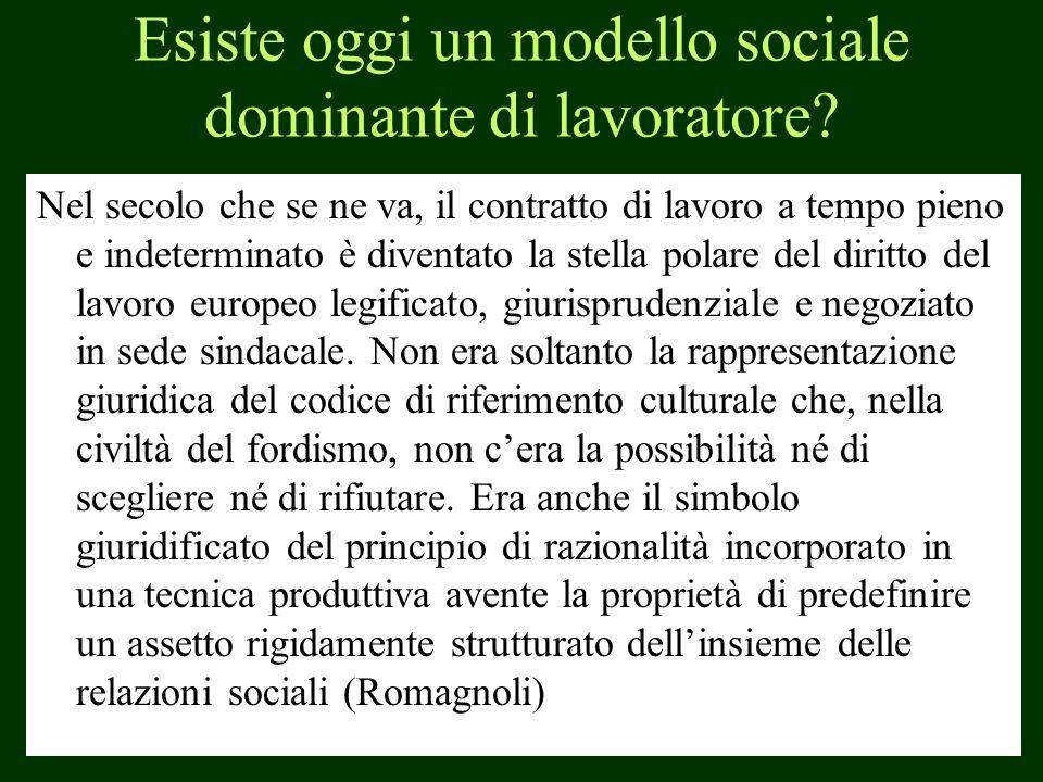 Esiste oggi un modello sociale dominante di lavoratore? Nel secolo che se ne va, il contratto di lavoro a tempo pieno e indeterminato è diventato la s