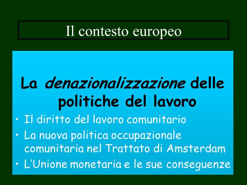 Il contesto europeo La denazionalizzazione delle politiche del lavoro Il diritto del lavoro comunitario La nuova politica occupazionale comunitaria ne