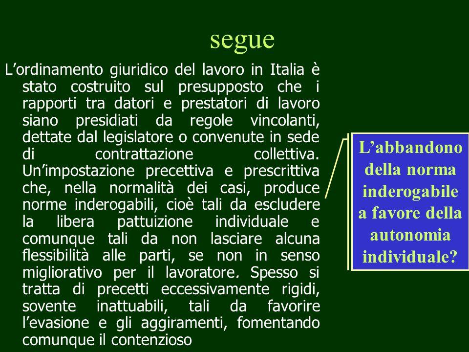 segue Lordinamento giuridico del lavoro in Italia è stato costruito sul presupposto che i rapporti tra datori e prestatori di lavoro siano presidiati