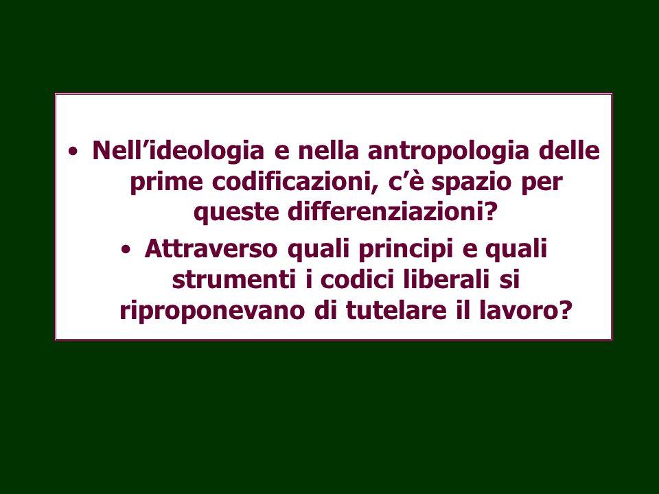 Nellideologia e nella antropologia delle prime codificazioni, cè spazio per queste differenziazioni? Attraverso quali principi e quali strumenti i cod