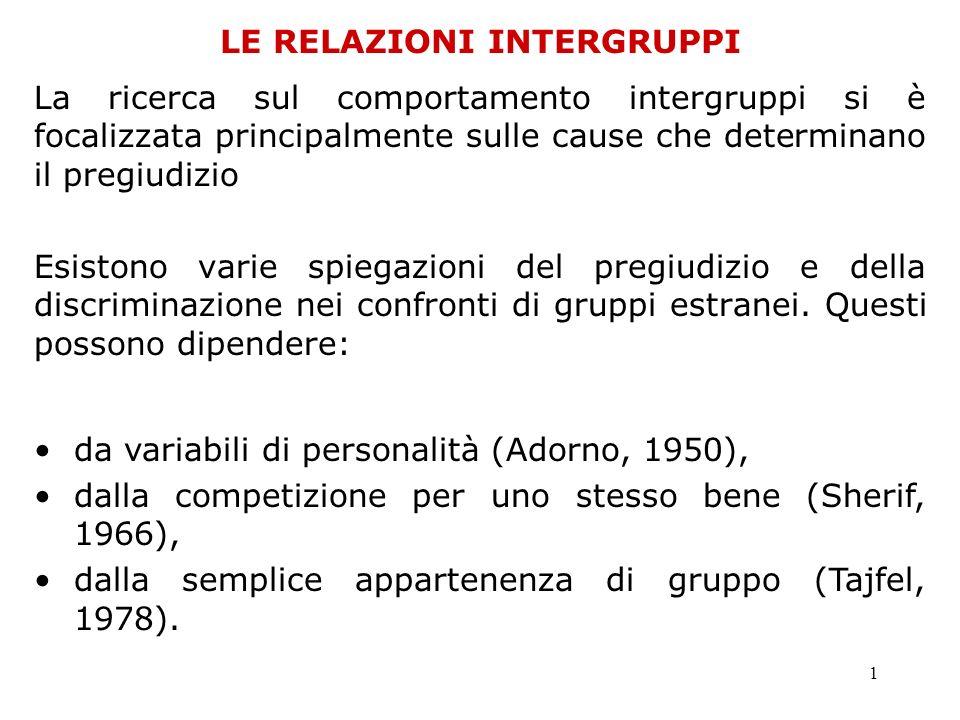 1 LE RELAZIONI INTERGRUPPI La ricerca sul comportamento intergruppi si è focalizzata principalmente sulle cause che determinano il pregiudizio Esiston