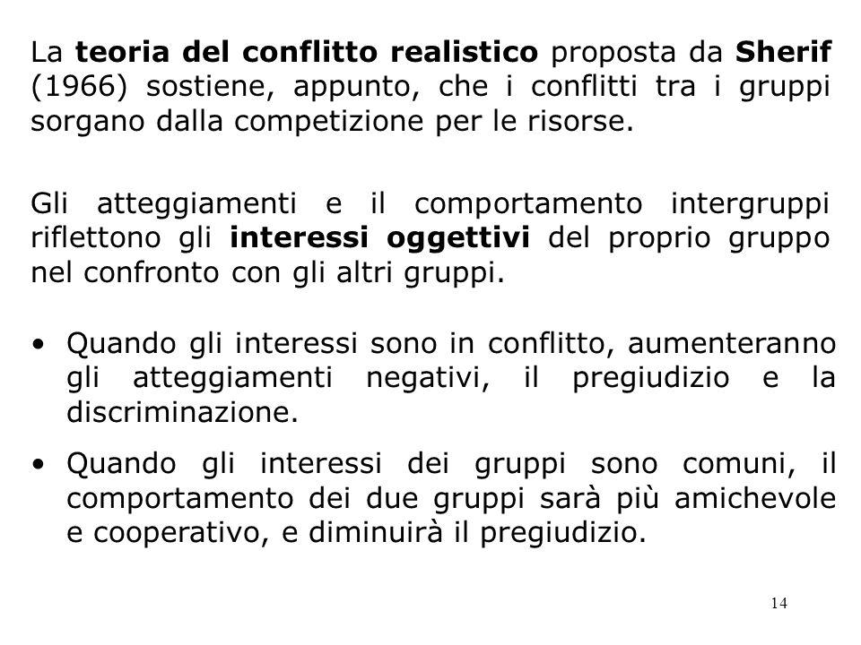 14 La teoria del conflitto realistico proposta da Sherif (1966) sostiene, appunto, che i conflitti tra i gruppi sorgano dalla competizione per le riso