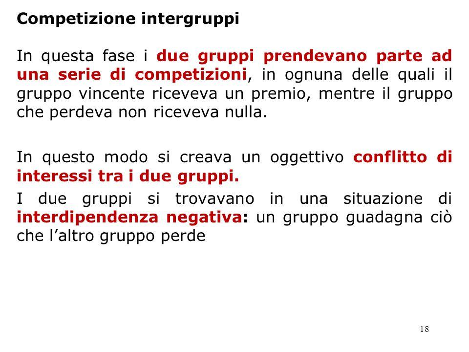 18 Competizione intergruppi In questa fase i due gruppi prendevano parte ad una serie di competizioni, in ognuna delle quali il gruppo vincente riceve