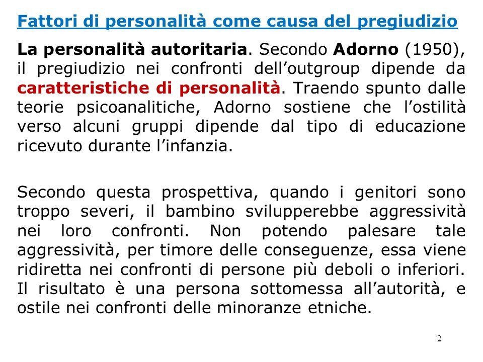 2 Fattori di personalità come causa del pregiudizio La personalità autoritaria. Secondo Adorno (1950), il pregiudizio nei confronti delloutgroup dipen