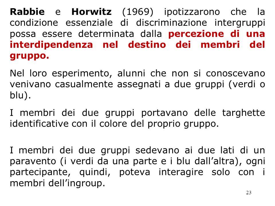 23 Rabbie e Horwitz (1969) ipotizzarono che la condizione essenziale di discriminazione intergruppi possa essere determinata dalla percezione di una i