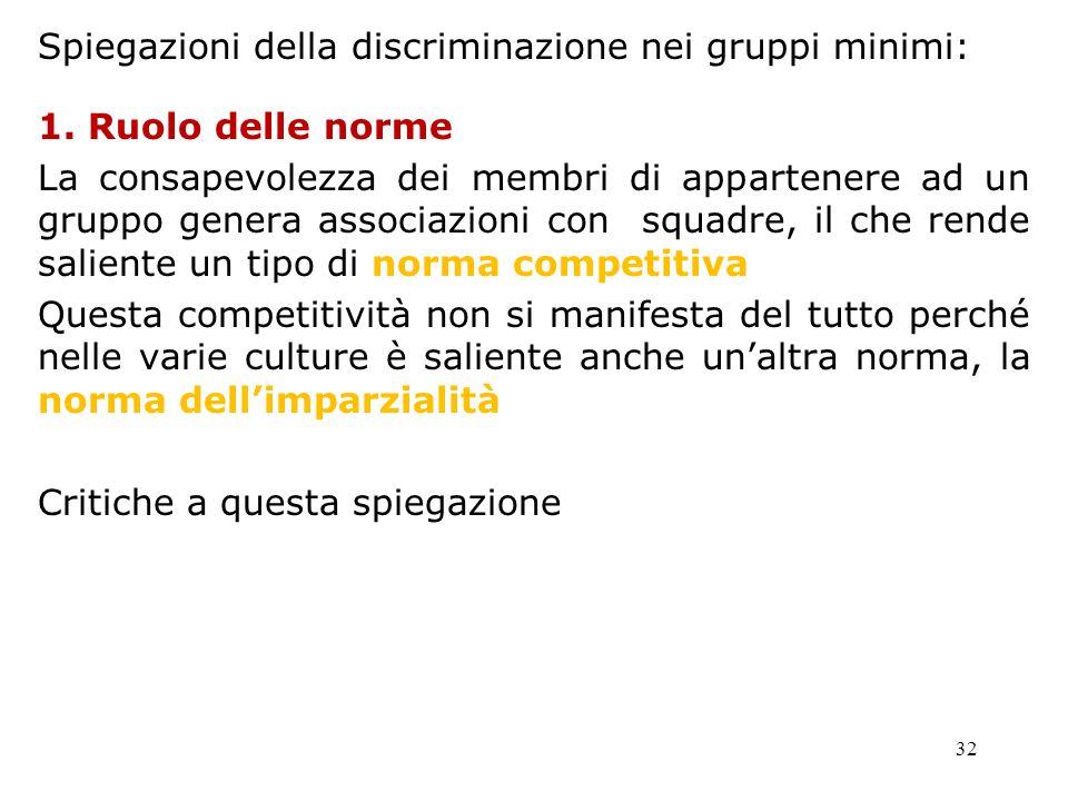 32 Spiegazioni della discriminazione nei gruppi minimi: 1. Ruolo delle norme La consapevolezza dei membri di appartenere ad un gruppo genera associazi