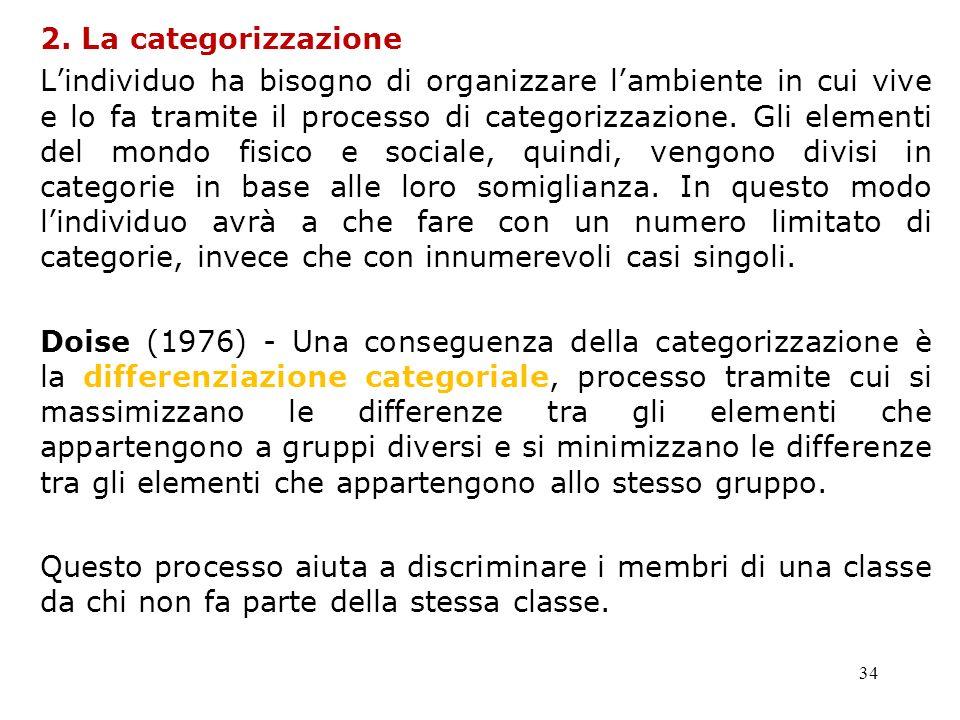 34 2. La categorizzazione Lindividuo ha bisogno di organizzare lambiente in cui vive e lo fa tramite il processo di categorizzazione. Gli elementi del