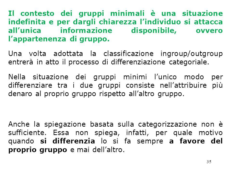 35 Il contesto dei gruppi minimali è una situazione indefinita e per dargli chiarezza lindividuo si attacca allunica informazione disponibile, ovvero
