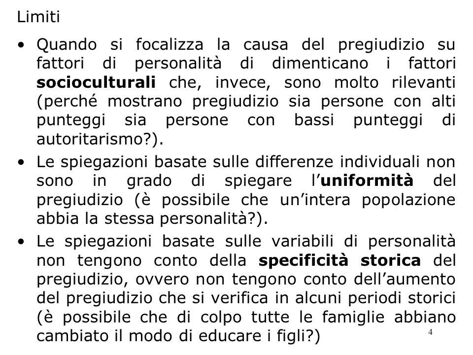 4 Limiti Quando si focalizza la causa del pregiudizio su fattori di personalità di dimenticano i fattori socioculturali che, invece, sono molto rileva