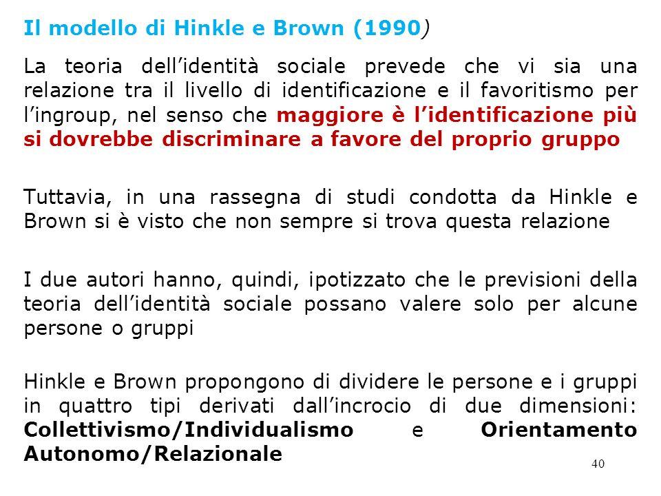 40 Il modello di Hinkle e Brown (1990) La teoria dellidentità sociale prevede che vi sia una relazione tra il livello di identificazione e il favoriti