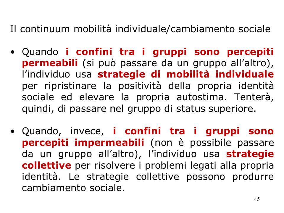 45 Il continuum mobilità individuale/cambiamento sociale Quando i confini tra i gruppi sono percepiti permeabili (si può passare da un gruppo allaltro