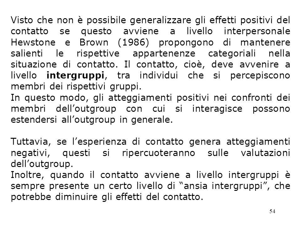 54 Visto che non è possibile generalizzare gli effetti positivi del contatto se questo avviene a livello interpersonale Hewstone e Brown (1986) propon
