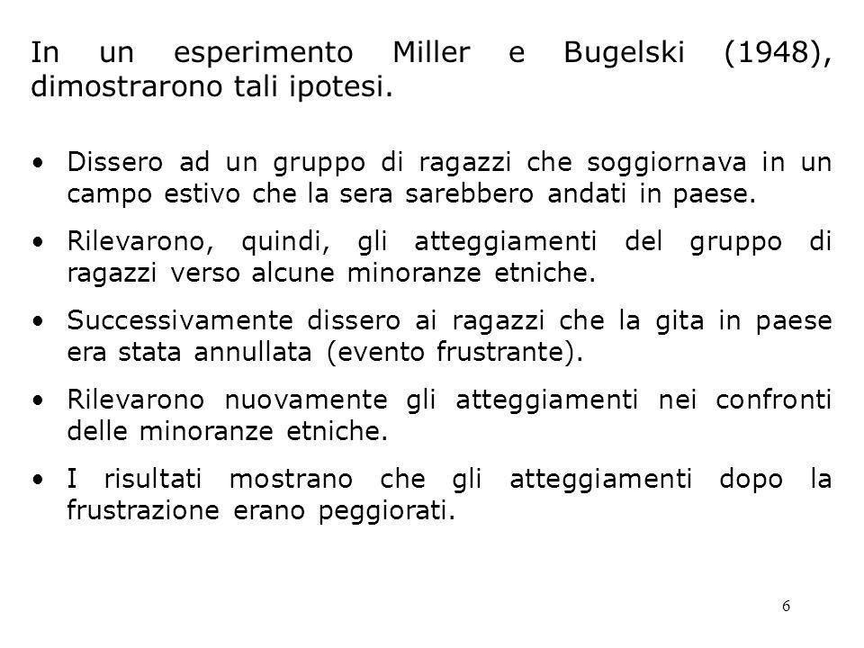 6 In un esperimento Miller e Bugelski (1948), dimostrarono tali ipotesi. Dissero ad un gruppo di ragazzi che soggiornava in un campo estivo che la ser