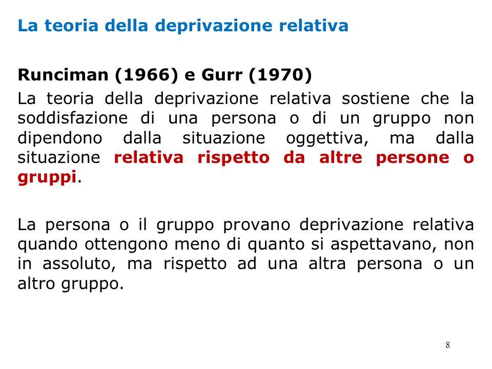 8 La teoria della deprivazione relativa Runciman (1966) e Gurr (1970) La teoria della deprivazione relativa sostiene che la soddisfazione di una perso