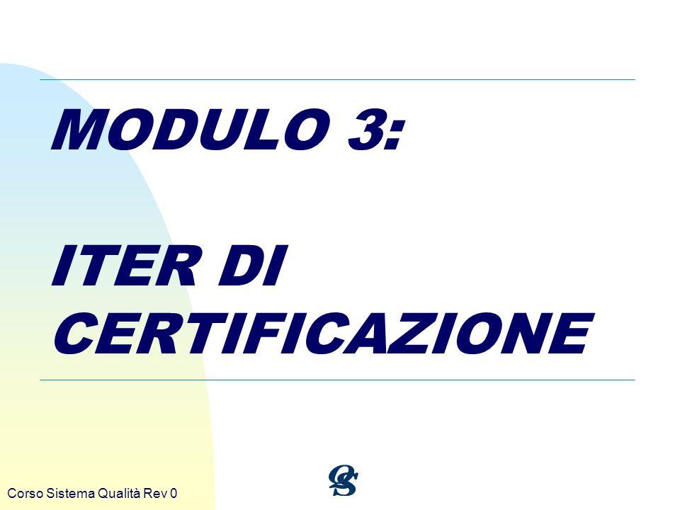 Corso Sistema Qualità Rev 0 MODULO 3: ITER DI CERTIFICAZIONE