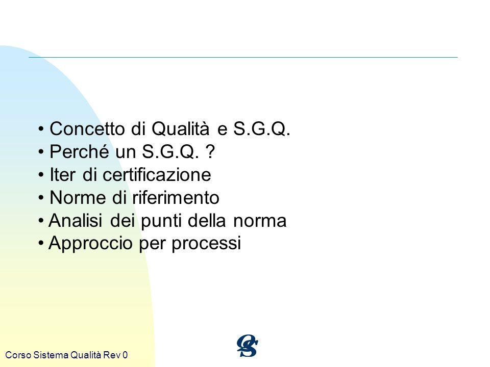 Corso Sistema Qualità Rev 0 Concetto di Qualità e S.G.Q. Perché un S.G.Q. ? Iter di certificazione Norme di riferimento Analisi dei punti della norma