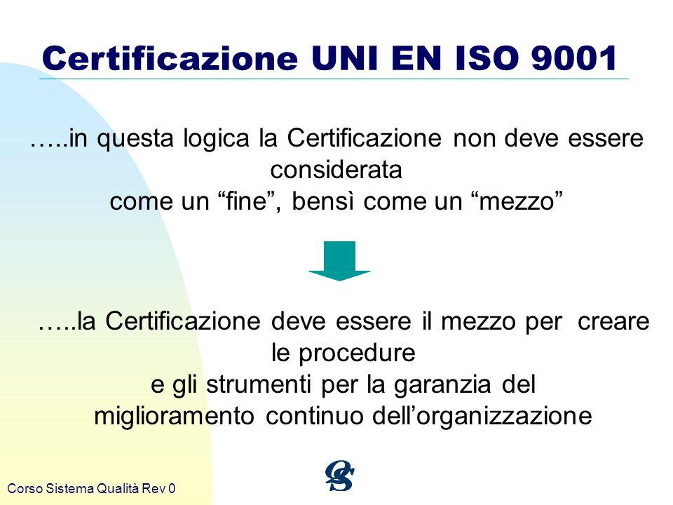 Corso Sistema Qualità Rev 0 Certificazione UNI EN ISO 9001 …..in questa logica la Certificazione non deve essere considerata come un fine, bensì come