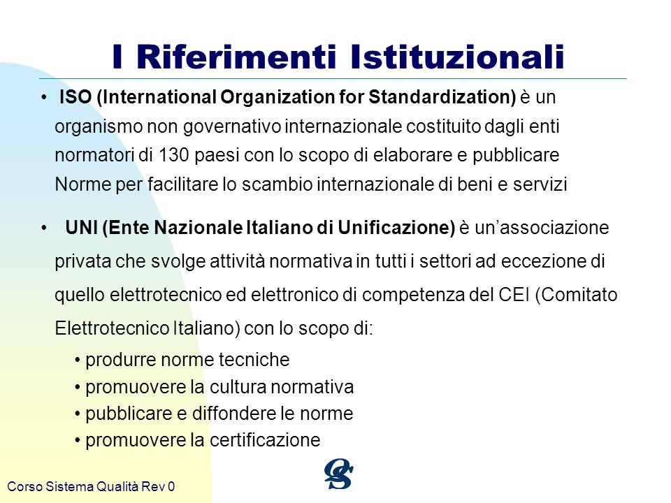 Corso Sistema Qualità Rev 0 I Riferimenti Istituzionali ISO (International Organization for Standardization) è un organismo non governativo internazio