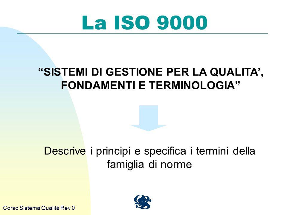 Corso Sistema Qualità Rev 0 La ISO 9000 SISTEMI DI GESTIONE PER LA QUALITA, FONDAMENTI E TERMINOLOGIA Descrive i principi e specifica i termini della