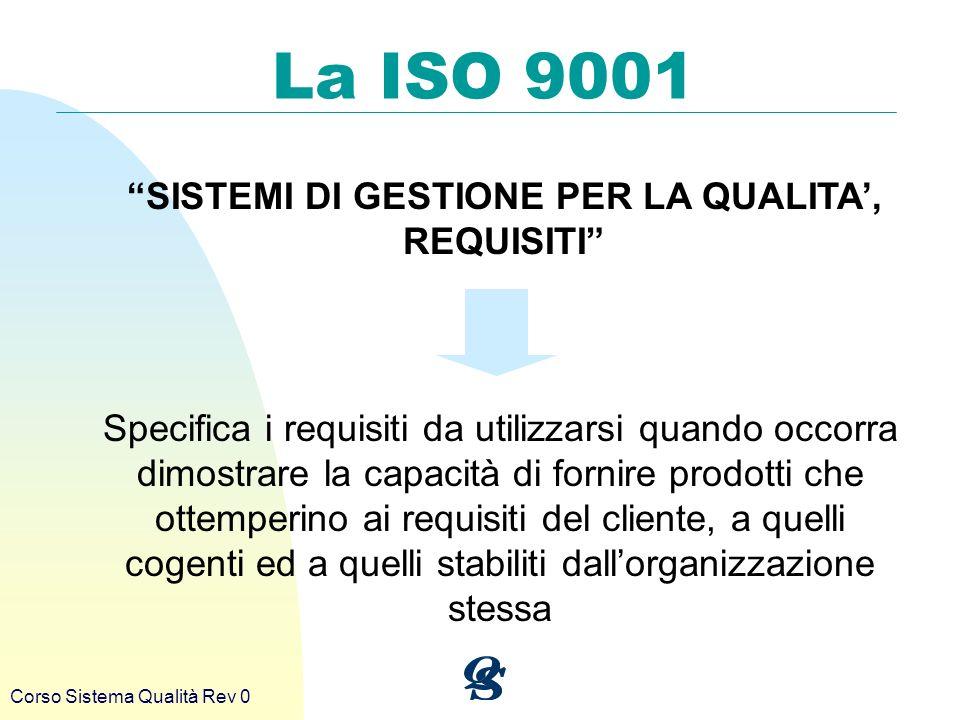 Corso Sistema Qualità Rev 0 La ISO 9001 SISTEMI DI GESTIONE PER LA QUALITA, REQUISITI Specifica i requisiti da utilizzarsi quando occorra dimostrare l