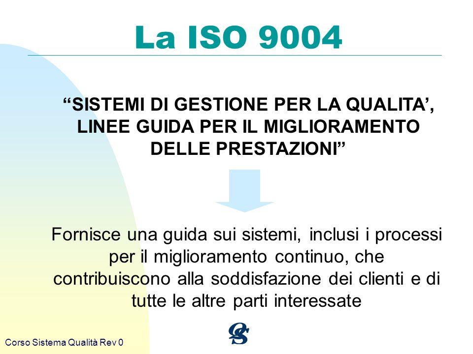 Corso Sistema Qualità Rev 0 La ISO 9004 SISTEMI DI GESTIONE PER LA QUALITA, LINEE GUIDA PER IL MIGLIORAMENTO DELLE PRESTAZIONI Fornisce una guida sui