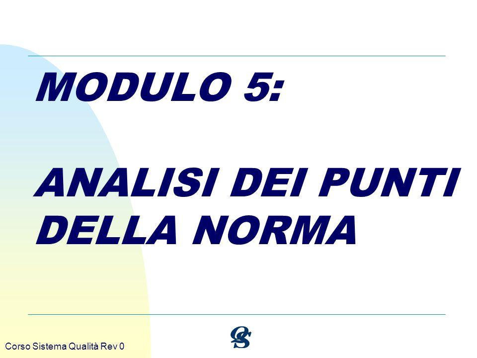 Corso Sistema Qualità Rev 0 MODULO 5: ANALISI DEI PUNTI DELLA NORMA